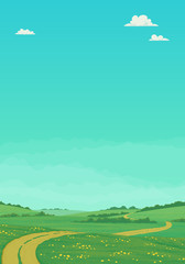 Fotorolgordijn Groene koraal Summer landscape with rural dirt road running through green meadows with wildflowers and trees with bright blue sky and clouds. Cartoon vector illustration, postcard, country background, banner.