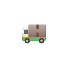 Delivery Truck Vector Icon. Isolated Freight Van Cartoon Style Emoji, Emoticon Illustration