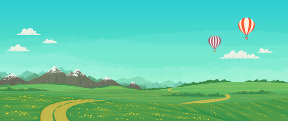 Hot air balloons flying over green meadows with wildflowers, dirt road and trees, snowy mountains with bright blue sky and clouds in the background. Summer landscape cartoon illustration, vector.
