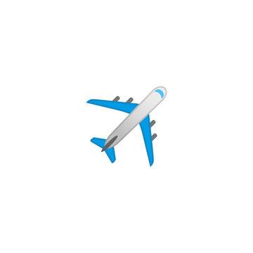 Airplane Vector Icon. Isolated Passenger Plane Cartoon Style Emoji, Emoticon Illustration