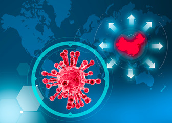 Microscopic view of Coronavirus, a pathogen that attacks the respiratory tract. Analysis and test, experimentation. Sars. Contagion, propagation. Flu. Infectious disease. World map with China highligh