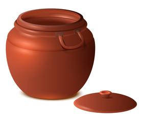 Big empty clay ceramic pot with lid 3d illustration