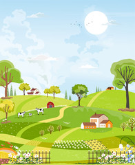 Tuinposter Lime groen Rural farm landscape with green fields, farm house, barn, animals cow, blue sky and clouds, Vector cartoon Spring or Summer background, Panoramic countryside with Fram fields landscape.