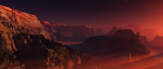 Canyon on Mars, sunset in a canyon on another planet, alien landscape, panorama of the Martian surface, 3D rendering