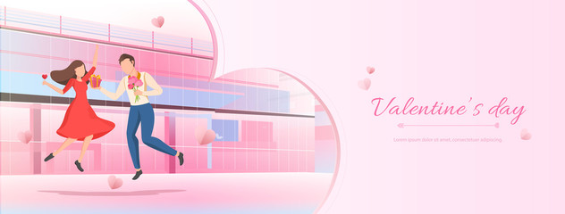 Pink Valentine's day banner background with cartoon couple and space for text