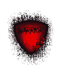 Vector dark red and black grunge silhouette shield warrior in drips and splashes of blood isolated on white background.Print illustration design for t shirt.Logo template for fight sport club.