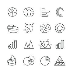 Diagram related icons: thin vector icon set, black and white kit