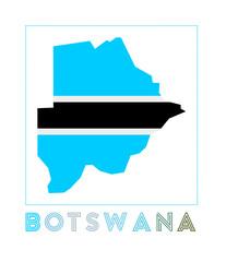 Botswana Logo. Map of Botswana with country name and flag. Astonishing vector illustration.