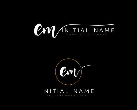 E M EM Initial handwriting logo vector. Hand lettering for designs.