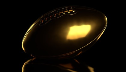 Golden american football or rugby ball on black background. 3d render.