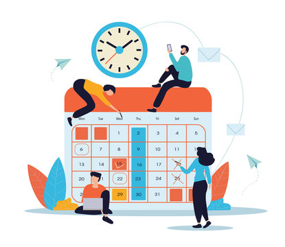 Teamwork and planning concept with businesspeople performing various activities around a monthly calendar below a wall clock for business agendas and schedules, vector illustration