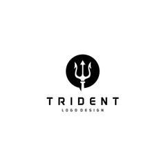 Circular Trident logo, Neptune God Poseidon Triton King Spear logo design