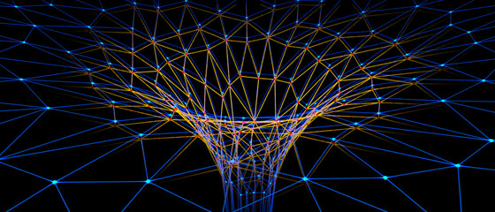 Abstract representation of a wormhole consisting of lines and points - 3d illustration