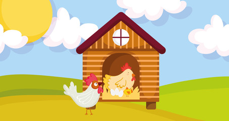 house hen rooster chicken and eggs farm animal cartoon