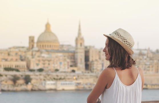 Young woman tourist portrait on vacation in Valletta Malta