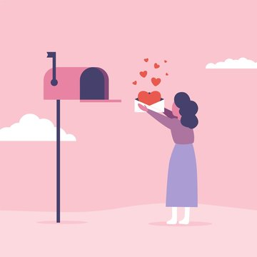 Love letters concept for Valentine's Day. Woman send or get mail with mailbox