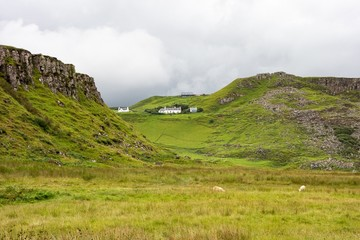 Canvas Prints Honey Scottish landscape near Rubha nam Brathairean (Brothers Point) in Isle of Skye in Scotland with picturesque houses