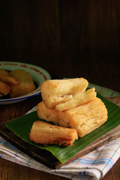 Deep fried cassava root. Brazilian Mandioca Frita (deep fried cassava/ manioc/yuca). Feijoada side dish