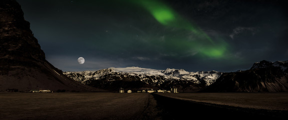 Panoramic image of the  Farm House at the bottom of the Eyjafjallajokull Volcano, Iceland