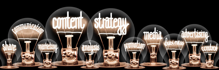 Light Bulbs with Content Strategy Concept