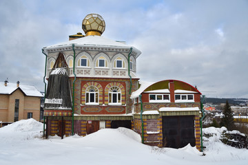 Zlatoust, Chelyabinsk region, Russia, January, 19, 2020. House of interesting architecture on Red hill in the city of Zlatoust. For sale