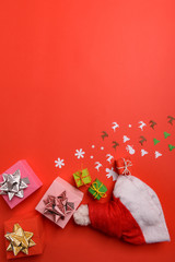 Acrylic Prints Abstract Floral Christmas or New Year background, plain composition made of Xmas decorations and fir branches, flat lay, blank space for a greeting text
