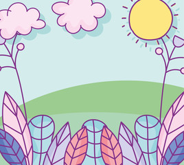 Printed kitchen splashbacks Light blue landscape leaves foliage ecology nature grass sun flowers cartoon