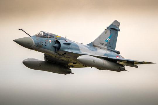 FLORENNES, BELGIUM - JUN 15, 2017: French Air Force Dassault Mirage 2000 fighter jet plane in flight.