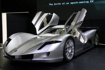 FRANKFURT, GERMANY - SEP 12, 2017: Aspark Owl Electric Supercar Concept sports car showcased at the Frankfurt IAA Motor Show.