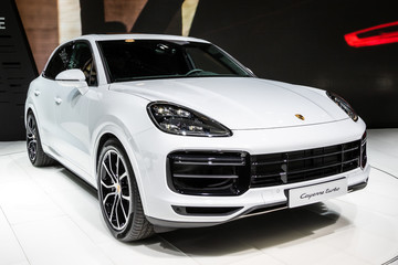 FRANKFURT, GERMANY - SEP 13, 2017: Porsche Cayenne SUV car showcased at the Frankfurt IAA Motor Show.