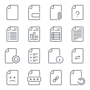 File and document related line icons. Docs and file management vector linear icon set.