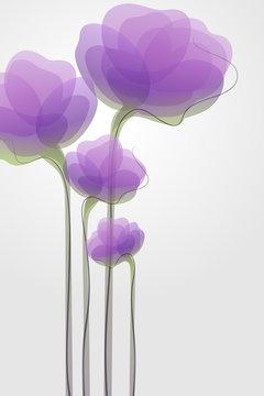 Elegant light purple flowers. Stylish vector greeting card or wedding invitation