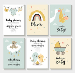 Baby shower invitation birthday greeting cards,  vector illustration