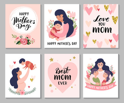 Happy Mothers Day greeting cards. Set of Calligraphy backgrounds and cartoon Mom with daughter & son. Vector illustration.