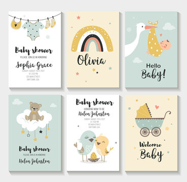 Baby shower invitation birthday greeting cards,  vector illustration