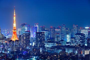 Türaufkleber Blaue Nacht 光が溢れる東京の夜景