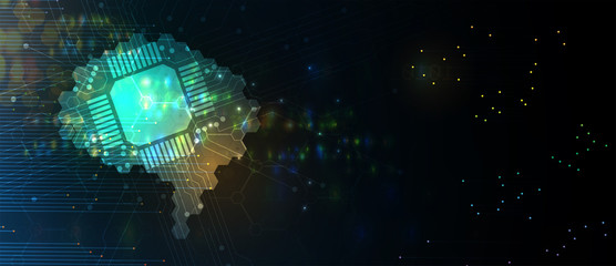 Wall Mural - Abstract Artificial intelligence. Cloud computing. Machine learning. Technology web background. Virtual concept