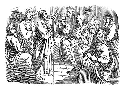 Antique vintage biblical religious engraving or drawing of saint apostle Simon Peter is speaking to Paul and Barnabas about circumcision .Bible, New Testament,Acts 15. Biblische Geschichte , Germany