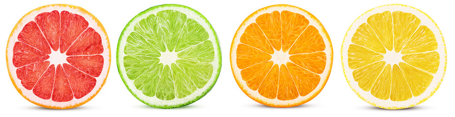 Fresh orange, lemon, lime, grapefruit cut in half slice