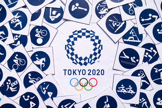 TOKYO, JAPAN, JANUARY. 20. 2020: Tokyo 2020 summer olympic game background, Pictogram and Icon an logo of Game in Japan