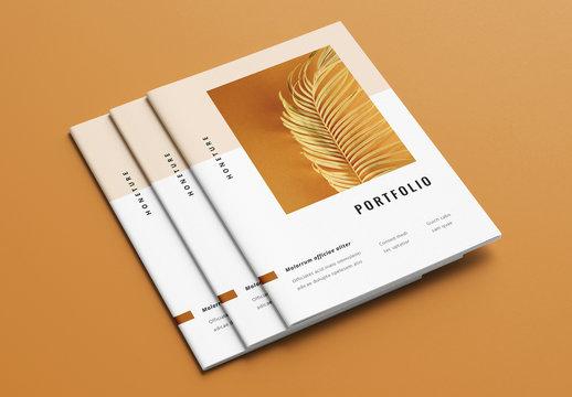 Modern Portfolio Layout with Brown Element Accents