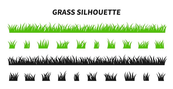 Vector set of green grass silhouettes isolated on white background. Natural, eco, bio, organic. Illustration for concept design.