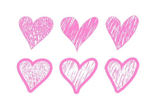 Hand drawn pink hearts. Vector design elements for Valentine's day and decoration. Set of heart clipart objects.