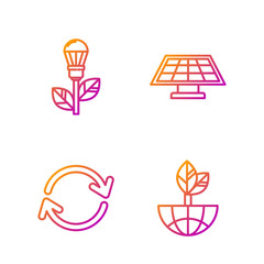 Set line Earth globe and leaf, Refresh, Light bulb with leaf and Solar energy panel. Gradient color icons. Vector