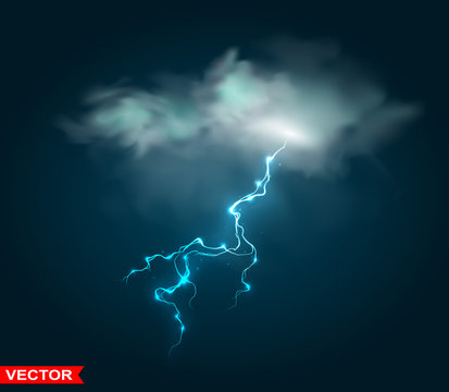Realistic rain cloud thunder storm blue lightning. Magic and bright lighting effects. On dark blue background. Layered vector.