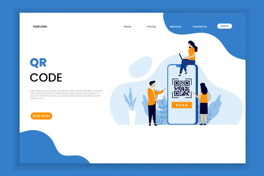 QR code scanning vector illustration concept with people scan code. people use smartphone and scan QR code for payment and everything.