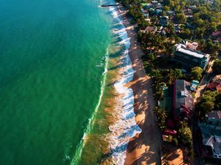 Tropical beach in Sri Lanka aerial view