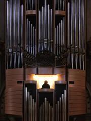 Montserrat, Spain - April 5, 2019: Organ pipes from a church organ in Santa Maria de Montserrat Abbey.