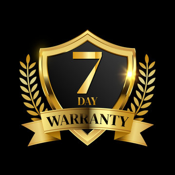 7 day warranty logo with golden shield