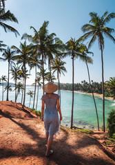 Tourist walking on Coconut tree hill in Mirissa Sri Lanka